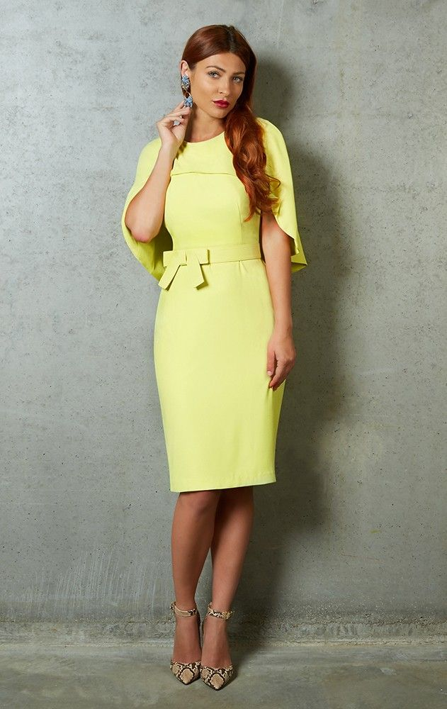 The Citrine Yellow Badgley Mischka Cape Back Sheath Dress
