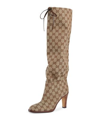 13e51c56543 Lisa+GG+Canvas+Knee+Boots+by+Gucci+at+Bergdorf+Goodman.
