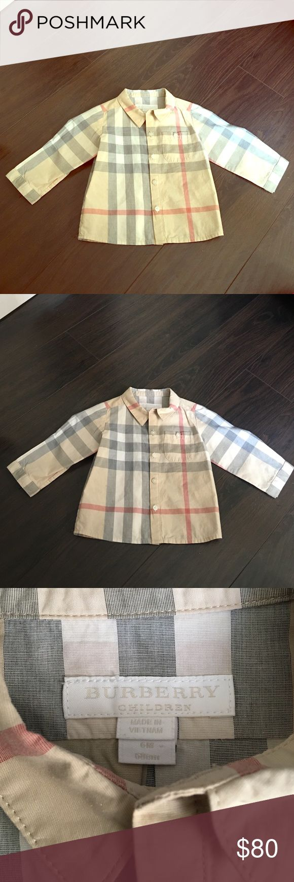 Baby Boys Authentic Burberry Dress Shirt Baby boys Authentic Burberry original Checkered print button down dress shirt ...like brand new only wore once for a couple hours and dry cleaned ..size 6 months Burberry Shirts & Tops Button Down Shirts