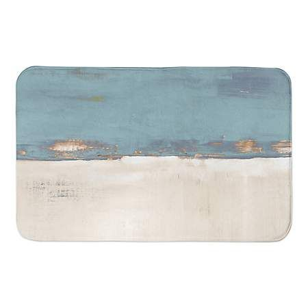 Blue and Cream Horizon Bath Mat | Kirklands