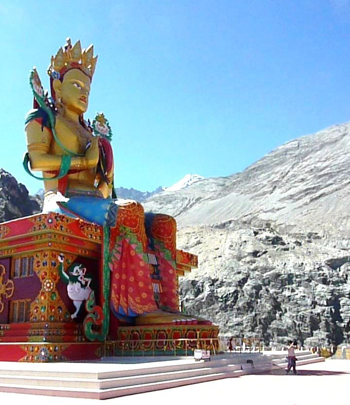 32 metre (110 ft) statue of Maitreya Buddha in Nubra Valley, Ladakh, India, facing down the Shyok River towards Pakistan.