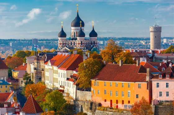 Toompea hill with tower Pikk Hermann and Russian Orthodox Alexander Nevsky Cathedral, view from the ... - KavalenkavaVolha/iStock/Getty Images Plus