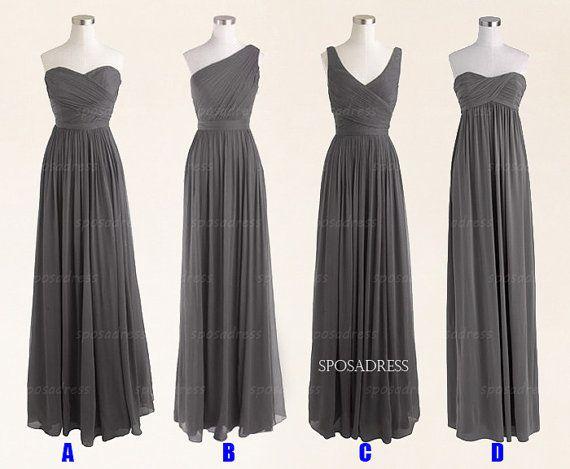 Long bridesmaid dresses, grey bridesmaid dresses,bridesmaid dress under 200, long prom dress, chiffon prom dress, bridesmaid dresses, RE320 on Etsy, $127.78 CAD