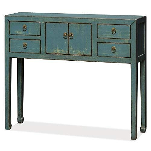 Chinafurnitureonline Elm Wood Console Table Distressed Blue China Furniture Furniture Furniture For Small Spaces