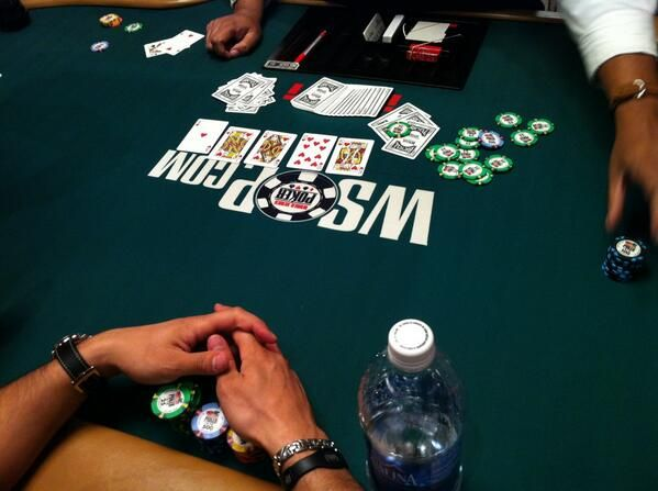 """""""I'm playing the board!""""  Royal Flush on Day 1C at main event. courtesy Poker News.  www.highrollerradio.net"""