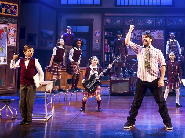 Photo 2 of 11 | Alex Brightman as Dewey Finn, Dante Melucci as Freddy and Evie Dolan as Katie in School of Rock. | School of Rock: Show Photos | Broadway.com