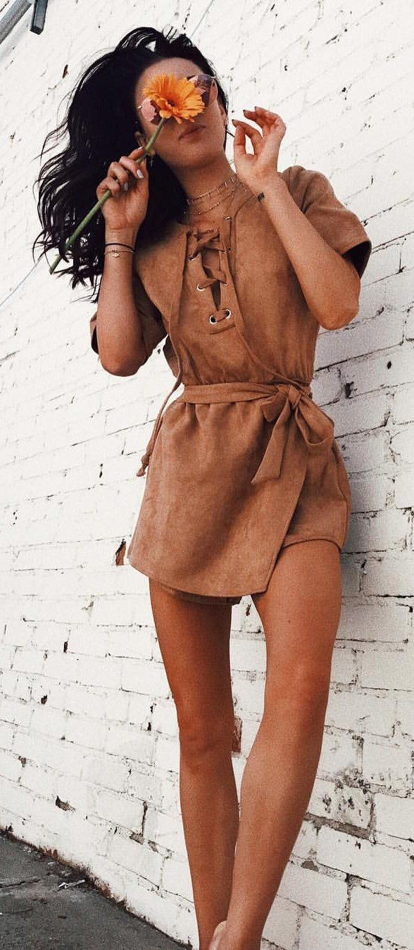 #spring #outfits Camel Lace-up Suede Monte Carlo Playsuit