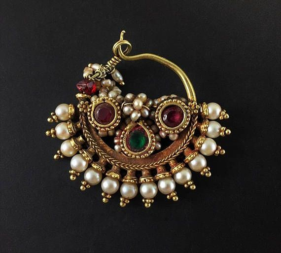 Antique Indian Gold Nose Ring With Pearls And Semiprecious Stones