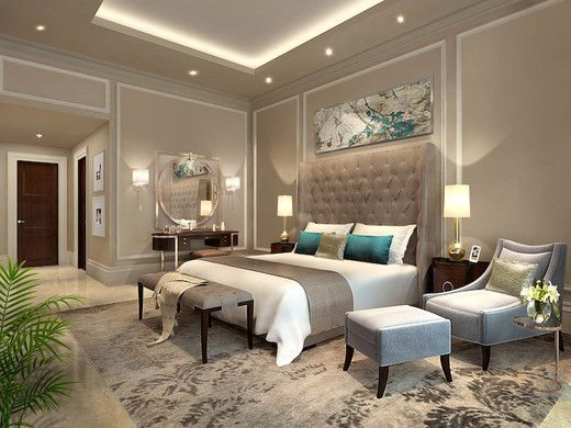 contemporary bedroom in camel with turquoise accents