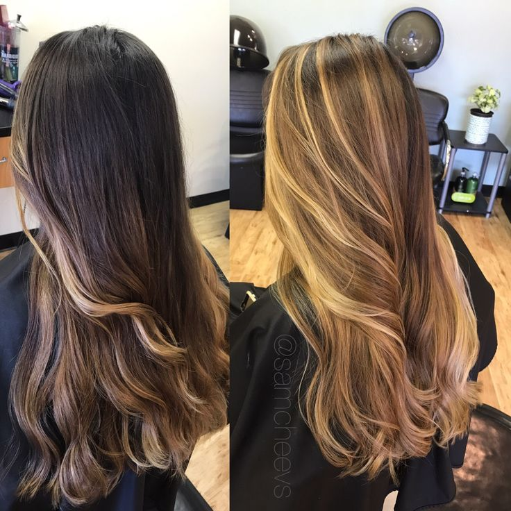 Before and after transformation / dark black brown roots to light honey caramel blonde balayage ombré highlights