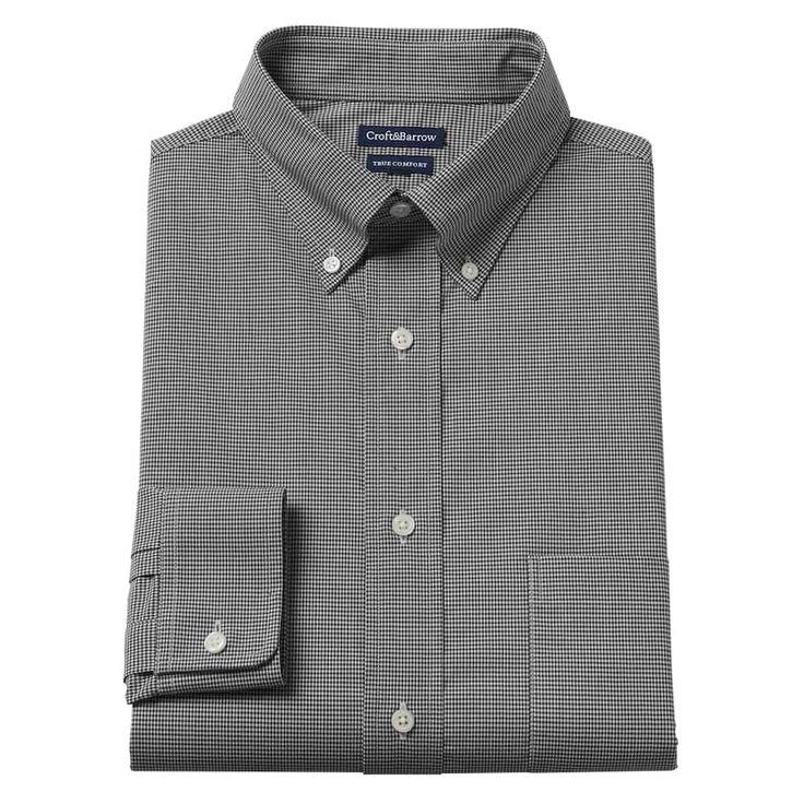 Men's Croft & Barrow® True Comfort Fitted Oxford Stretch Dress Shirt, Size: 15.5-32/33, Black