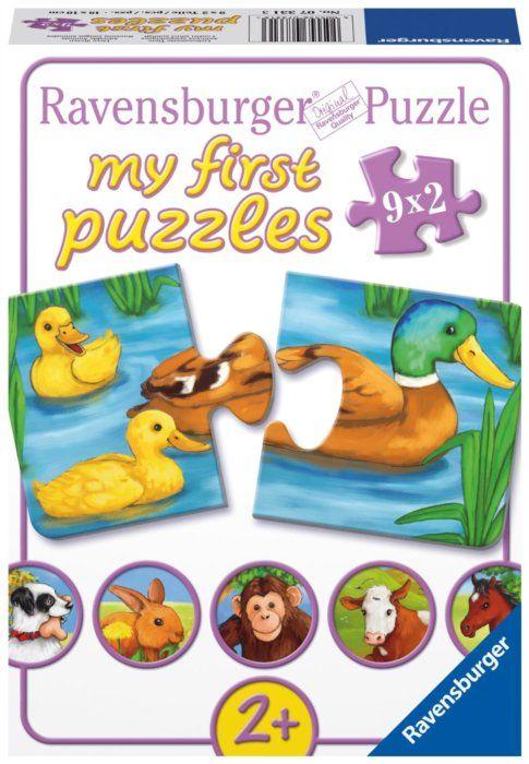 Puzzle pro nejmenší RAVENSBURGER - Roztomilá zvířátka 2x9 dílků