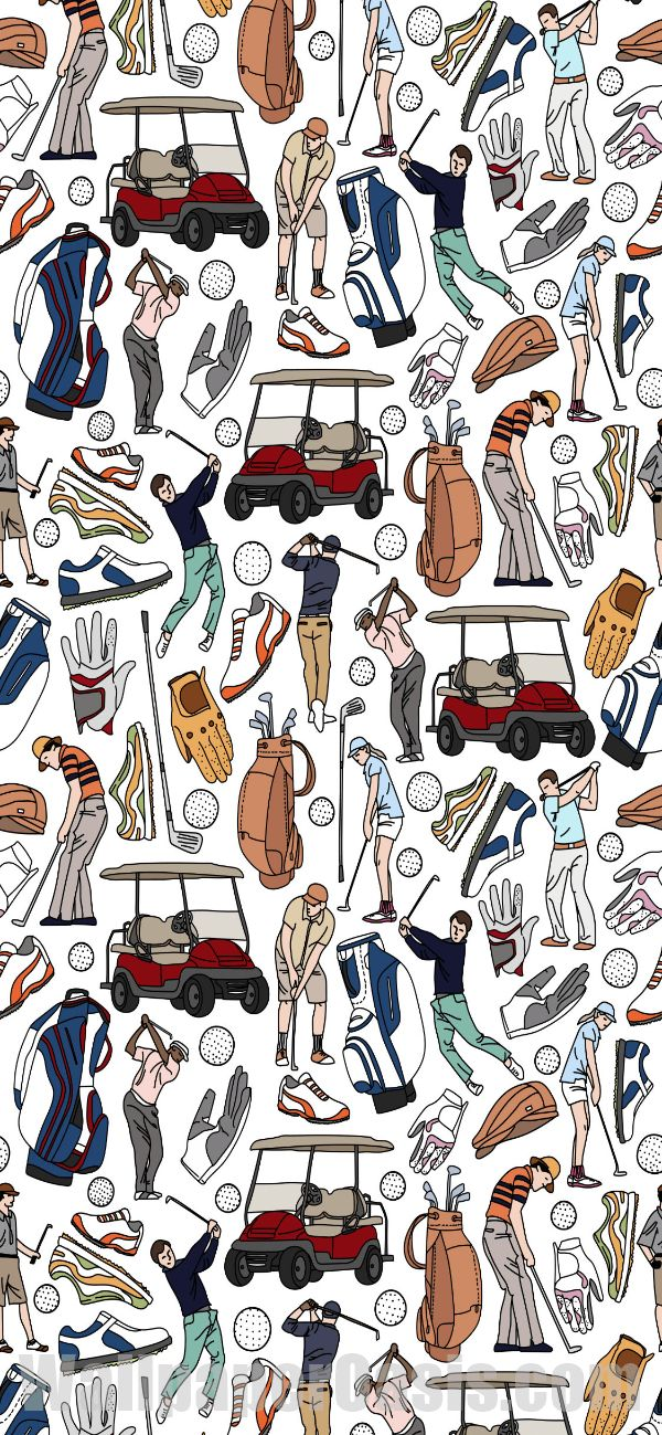 Free colorful golf doodle iPhone wallpaper. This design is