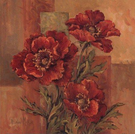 Poppies Terra Cotta by Barbara Mock art print
