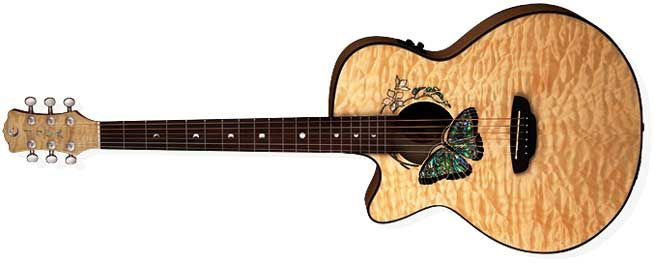 Luna Fauna Butterfly Left Handed Acoustic Guitar