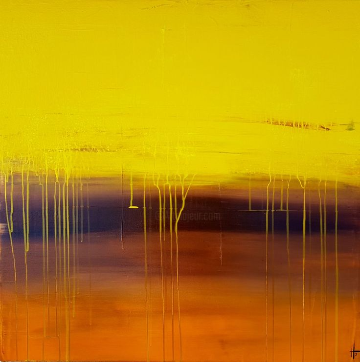 tableau peinture abstrait contemporain moderne - Peinture,  60x60x4,5  ©2017 par Sandrine Hartmann -                            Art abstrait, coulures, carré, tableau, abstrait, contemporain, original, unique, fait main, jaune, orange, relief, peinture, painting, art
