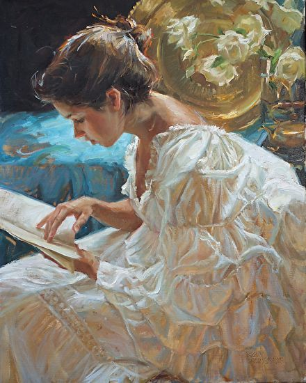 The Good Book  by Gladys Roldan-de-Moras  Oil 24 x 30 Love the way the fabric is painted.