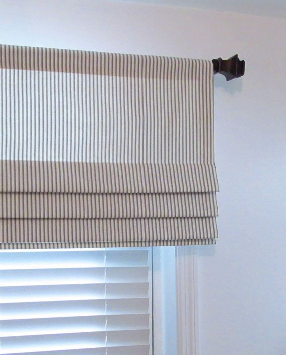 Faux Roman Shades/ Mock Roman Valance/ Lined Valance/ Brown – Ivory Ticking Stripe/ Custom Sizing Available