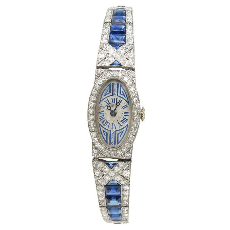 French Lady's Art Deco Sapphire Diamond Platinum Bracelet Wristwatch   From a unique collection of vintage wrist watches at https://www.1stdibs.com/jewelry/watches/wrist-watches/