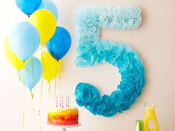 Pom-Pom Number Birthday Decoration using coffee filters or cupcake liners