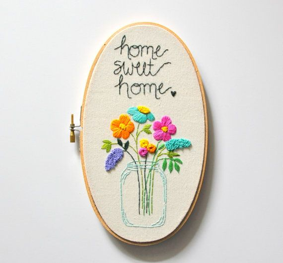 Home Sweet Home. Handmade Oval 5x9 Embroidery Hoop Art by KimArt