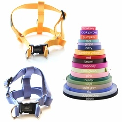 Personalized dog harness, contact info on clip, no tags!