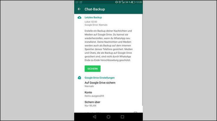 Gelöschte WhatsApp-Bilder und Nachrichten wiederherstellen:So sieht das Chat-Backup-Menü von WhatsApp auf einem Android-Smartphone aus.