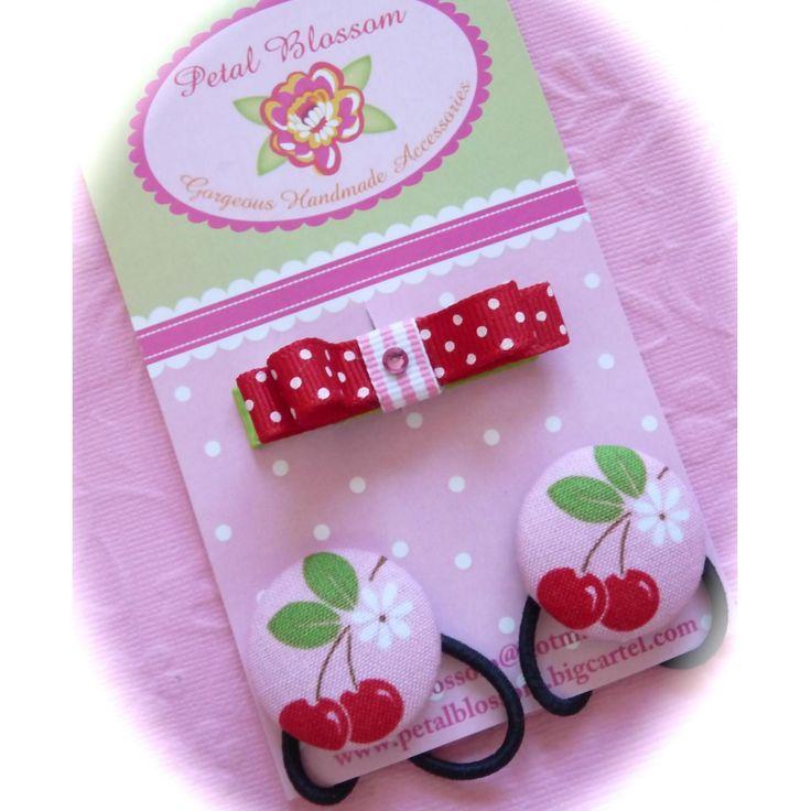 $5.50 Cherrylicious clip and Hair tie set by petalblossom on Handmade Australia