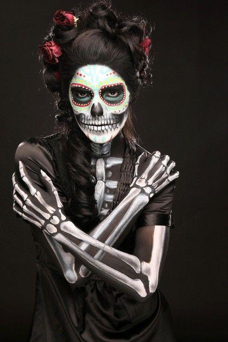skeleton make-up and costume