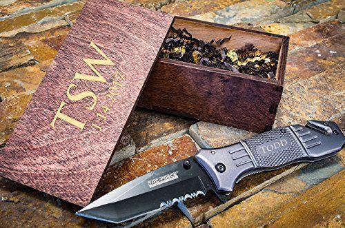 Custom Tactical Knife & Personalized Wooden Box– Engraved Wood Groomsmen Gift Boxes w/ Pocket Knives- Groomsman Set Hunting Man Mens Boyfriend Weddi…