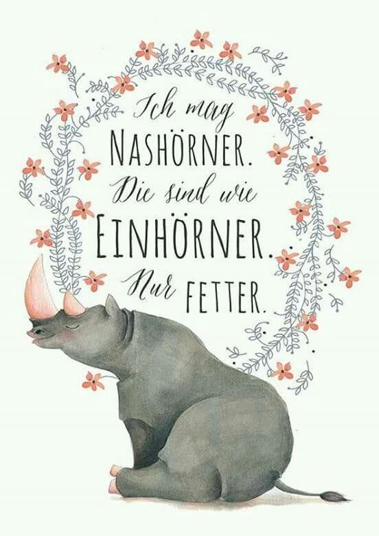Ich mag Nashörner - Die sind wie Einhörner. Nur fetter.