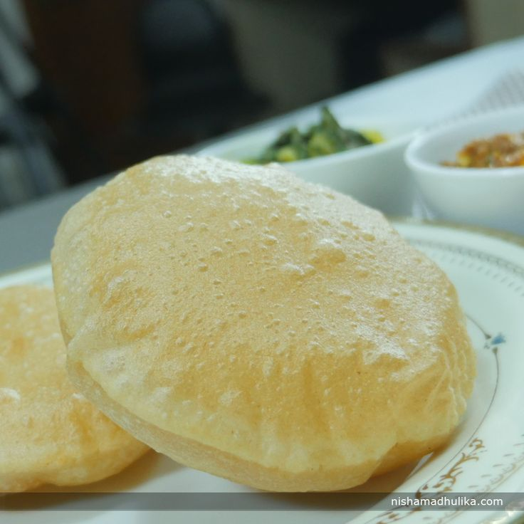 These soft and fluffy pooris make a perfect meal.