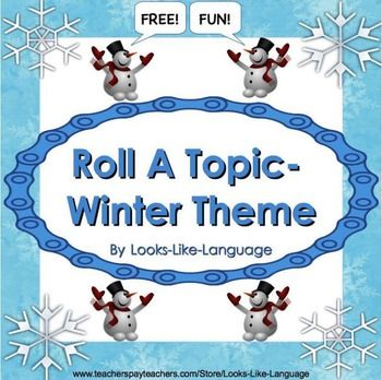 A great FREE resource from Looks-Like-Language to use for writing, oral narratives, speech therapy, or as a game!  Students roll a die and you determine what written or oral language skill they need to use.Included are:* directions* a photo board * a dice game boardA  winter thank you to my followers.