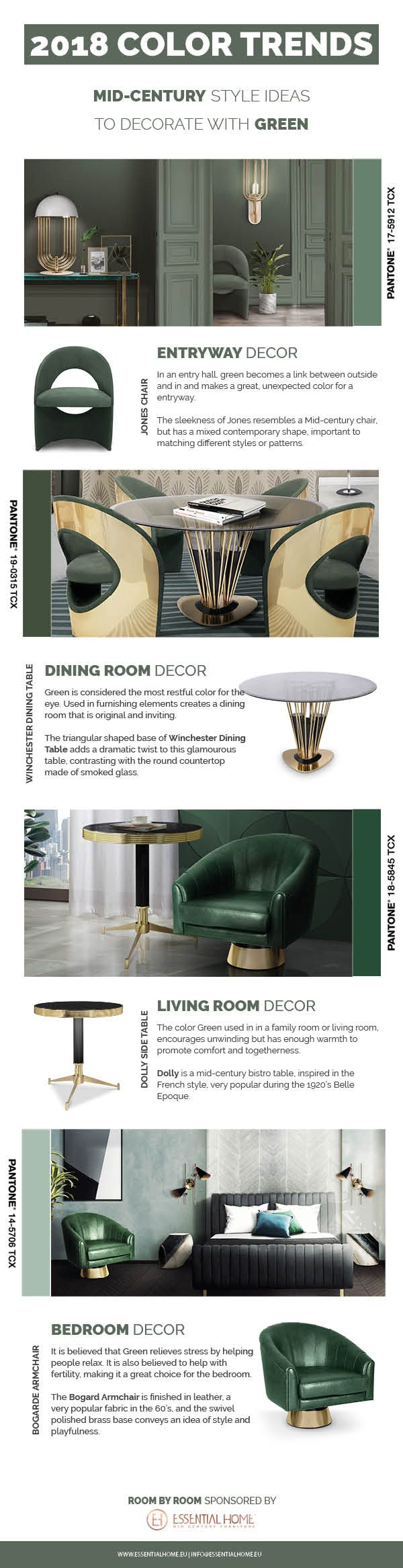Get your tips on the next color trends! Start thinking about 2018 color trends, how to rock green decor in your mid-century home! essentialhome.eu