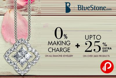 BlueStone is offering 0 % Making Charge + UPTO 25% Extra Off on Earrings, Pendants, Rings, Tanmaniayas, Bangles, Bracelets, Nose Pins, Bangles, Bracelets, Necklaces.  http://www.paisebachaoindia.com/0-making-charge-upto-25-extra-off-bluestone/
