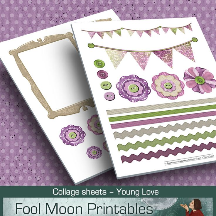 Printable collage sheets for craft projects. Can be used for card making, scrapbooking, journaling, or just to prettify your diary, school projects, etc.