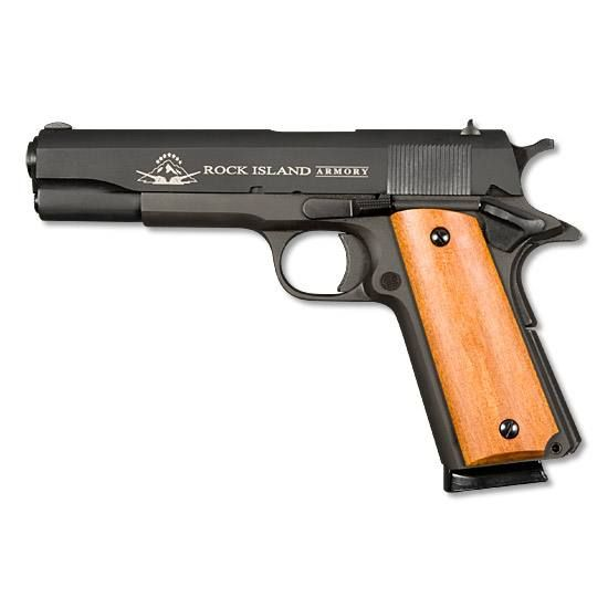 Armscor Rock Island Armory 1911 Standard GI Semi Automatic Pistol .45 ACP 5 Barrel 8 Rounds Smooth Wood Grips Parkerized Finish 51421