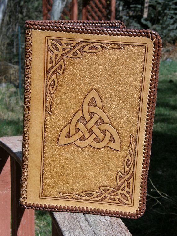 Hand Carved Celtic Trinity Knot Leather Notebook with a Laced Edge