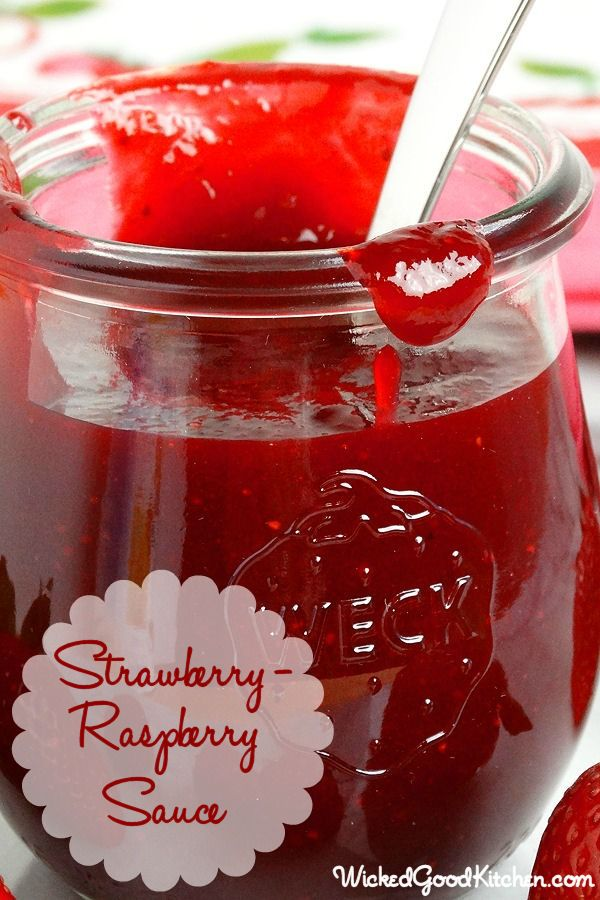 Strawberry-Raspberry Sauce {best ever} by WickedGoodKitchen.com ~ Lush, thick, bright ruby-red and bursting with fresh berry flavor, this versatile dessert sauce is easy to prepare, much better than store bought, uses only 4 ingredients and is ready in just 15 minutes! Perfect for spring and summer desserts. #diy #dessert #recipe