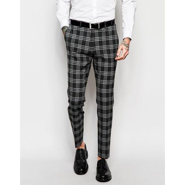 ASOS Skinny Suit Trousers In Tartan Check (36280 IQD) ❤ liked on Polyvore featuring men's fashion, men's clothing, men's pants, men's dress pants, grey, mens tartan plaid pants, mens grey dress pants, mens polyester pants, mens checkered pants and tall mens dress pants