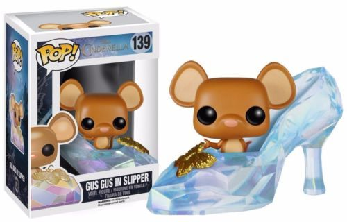 Based on Disney's 2015 live action reimagination of Cinderella, decorate your desk with the legendary glass slipper and one of Cinderella's furry friends! The Disney Cinderella Live Action Gus Gus in Slipper Pop! Vinyl Figure stands approximately 3 3/4-inches tall as a stylized, Pop! version of her film counterpart, played by actress Lily James. Give this cute vinyl figure a fairy tale ending!