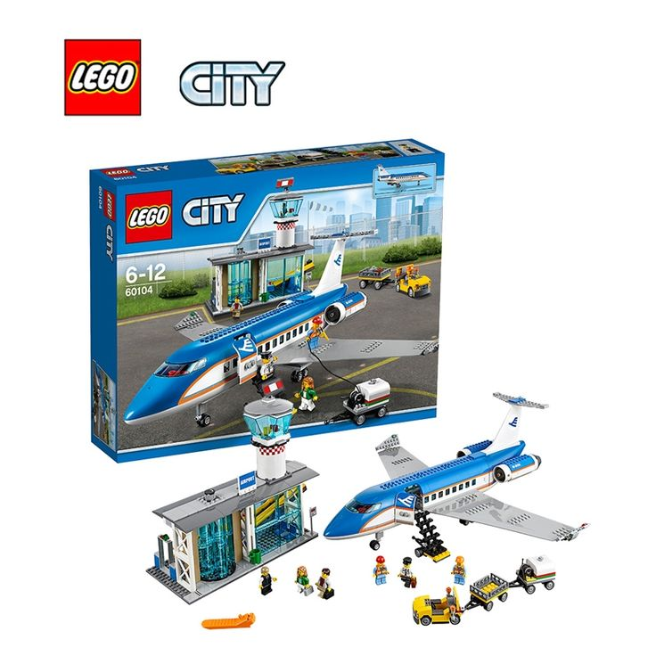 197.88$  Buy here - http://aiprp.worlditems.win/all/product.php?id=32801552443 - LEGO City Airport Passenger Terminal Architecture Building Blocks Model Kit Plate Educational Toys For Children LEGC60104
