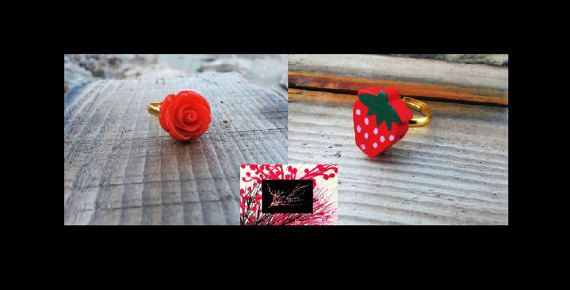 gold ring with Flower or Strawberry  by KassiArtFashion on Etsy
