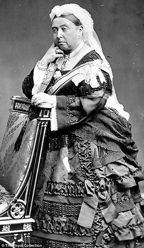 Queen Victoria in 1873... one of the most elaborate mourning dresses I've seen!