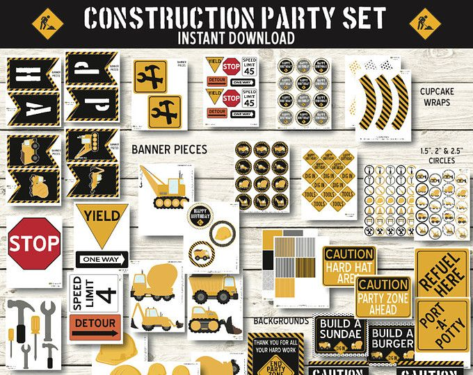 Construction Birthday - Construction Party Decorations - Dump Truck Birthday Party - Truck Birthday Party - Construction Printable - Instant
