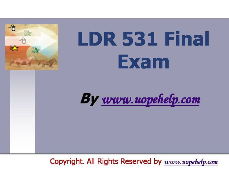 Confused and depressed about which tutorials to choose? Here is the tip. Try us and we guarantee that you will not have to look any further. We provide various homework help that you will find eay to understand. http://www.UopeHelp.com/ also provide LDR 531 Final Exam Latest UOP Assignments, Entire course questions with answers and law, finance, economics and accounting homework help, discussion questions, Homework Assignment etc. Join us to be straight 'A' student.