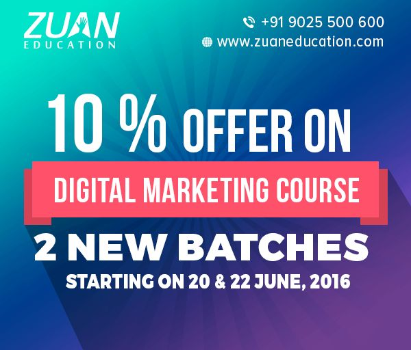 Now get Flat 10% OFF on Digital Marketing..!  Enroll with our new batches starting on 20th & 22nd June to avail 10% discount on the course fee!  Hurry! Become a Digital Marketing Pro in 30 Days!!  Call +91 9025500600 to talk with our consultant today. To know more about the course, visit - http://www.zuaneducation.com/digital-marketing-training-courses  #digitalmarketing #course #training #education