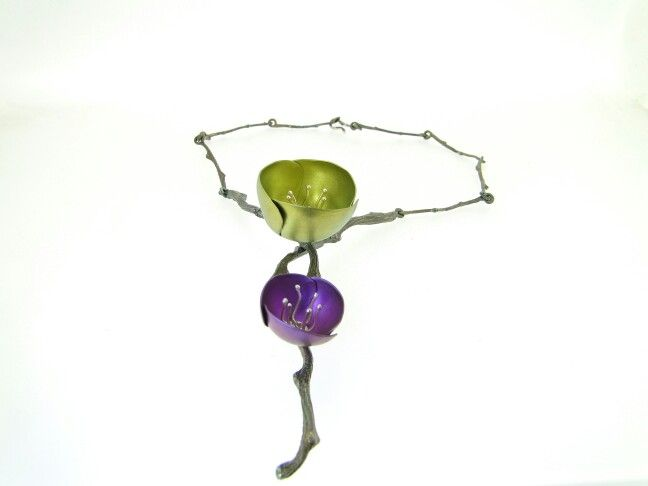 TitaniumTulips  Necklace with sterling silver branches
