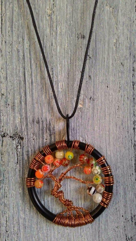 TREE OF LIFE - Collana millefiori, lavorazione artigianale - ciondolo cm 4