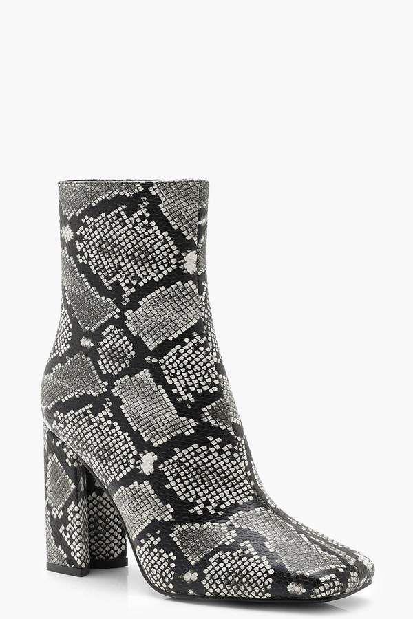 bd72cdaa9f2f boohoo Wide Fit Snake Block Heel Sock Boots  snakeskin  boots  ad ...